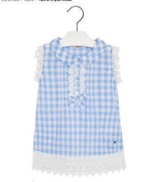 Mayoral Girls Gingham Blouse - Blue/White