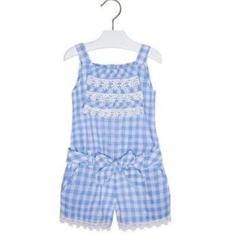 Mayoral Girls Gingham Lace Trim Playsuit - Blue/White