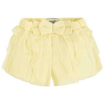 Mayoral Girls Ruffled Chiffon Shorts - Lemon