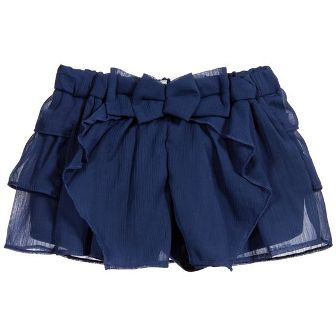 Mayoral Girls Ruffled Chiffon Shorts - Navy