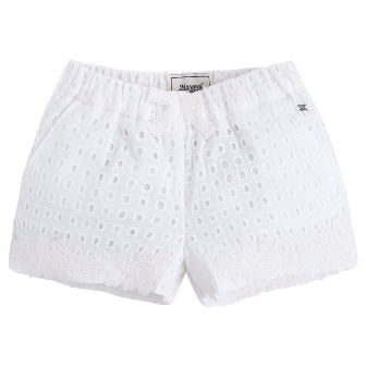 Mayoral Girls Eyelet Shorts - White