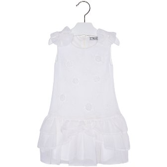 Mayoral Girls Ruffled Chiffon Dress - White