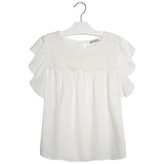 Mayoral Girls Crochet Ruffled Sleeve Top - White