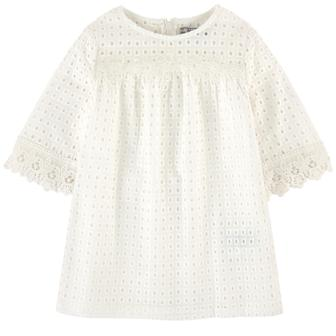Mayoral Girls Eyelet/Crochet Lace Trim Dress  - White