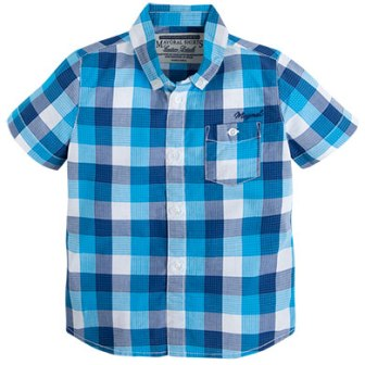 Mayoral Boys Plaid Check Shirt - Royal Blue/Aqua