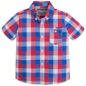 Mayoral Boys Plaid Check Shirt - Red/Blue
