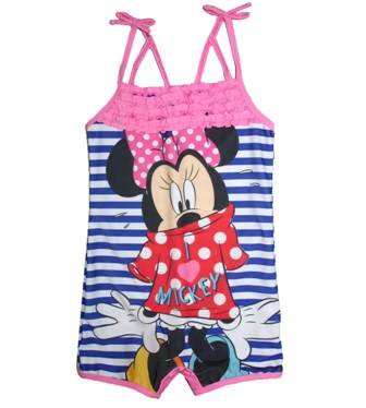Disney Store Girls Minnie Mouse Boy Leg Swimsuit -  Blue/White