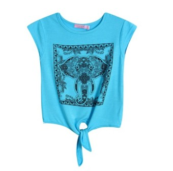 Funky Babe Junior Girls Elephant Print Crop Top  -  Turquoise